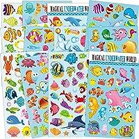 Sea World Stickers pour Enfants 12 Feuilles avec Poisson-Ange, Requins, étoiles de mer, Requins, Hippocampe, Pieuvre et…