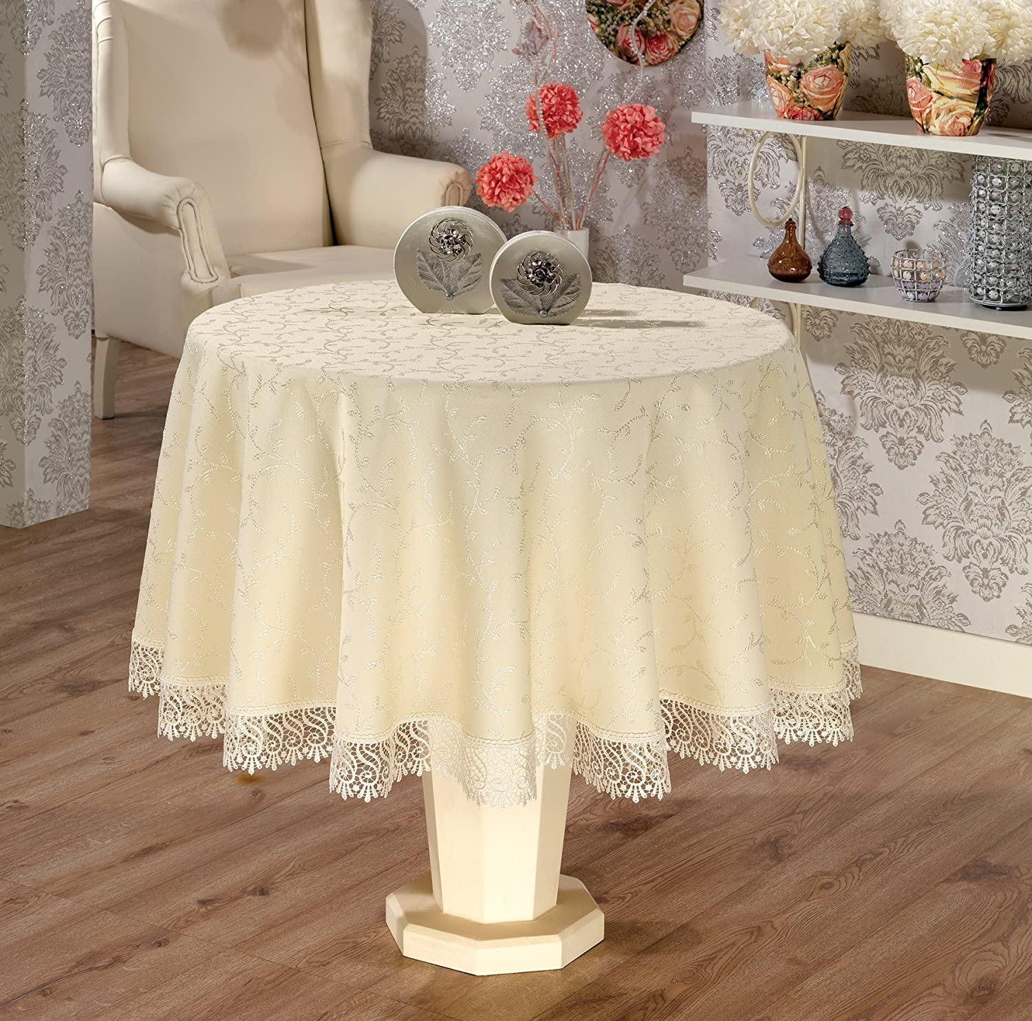 "Round 160 cm 63"" Luxury Tablecloth in Cream with Lace Finish"