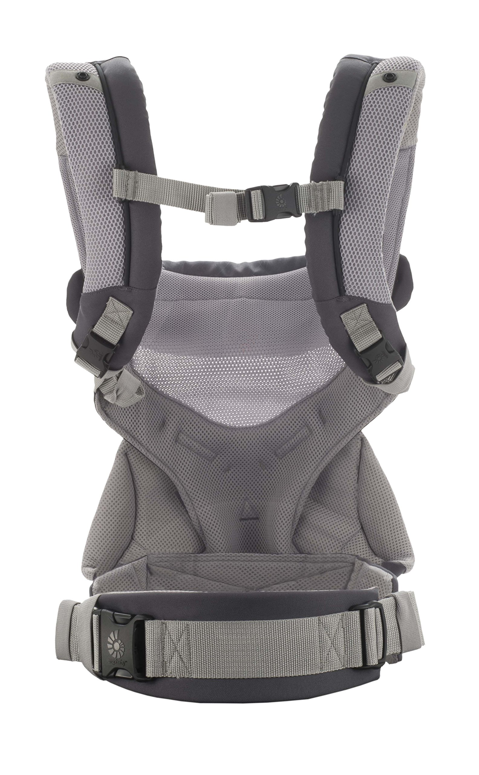 Ergobaby Baby Carrier for Toddler, 360 Cool Air Carbon Grey, 4-Position Ergonomic Child Carrier and Backpack Ergobaby Ergonomic baby carrier for the summer, with 4 ergonomic carry positions: front-inward, back, hip, and front-outward. The carrier is suitable for babies and toddlers weighing 5.5-15 kg, and can be used as a back carrier. Also with insert for newborn babies weighing 3.2-5.5 kg (7-12 lbs), sold separately. NEW - The waistbelt with lumbar support can be worn a little higher or lower to support the lower back and provide optimal comfort, and has adjustable padded shoulder straps. The carrier is suitable for men and women. Maximum baby comfort - Breathable 3D air mesh material provides an optimal temperature for your baby on warm days. The structured bucket seat supports the correct frog-leg position for the baby. The carrier also has a neck support and privacy hood with 50+ UV sun protection. 3