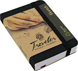"Pentalic Traveler Pocket Journal Sketch, 4"" x 3"", Black"