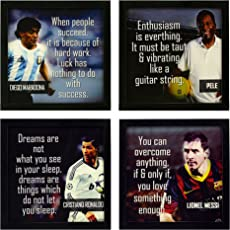 Indianara 4 Piece Set of Framed Wall Hanging Football Wall Art Quotes Decor(1169) Art Prints 8.7 inch X 8.7 inch Without Glass