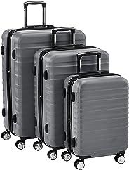 Hochwertiger Hartschalen-Trolley mit eingebautem TSA-Schloss und Laufrollen 3-Teiliges Set (55 cm, 68 cm, 78 cm), Grau