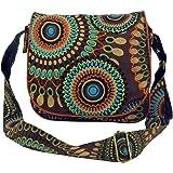 GURU SHOP Schultertasche, Hippie Tasche, Goa Tasche - Schwarz, Herren/Damen, Baumwolle, 22x23x5 cm, Alternative Umhängetasche
