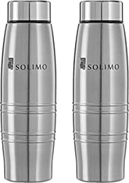 Amazon Brand - Solimo Sparkle Stainless Steel Fridge Water Bottle, 400 ml, Set of 2