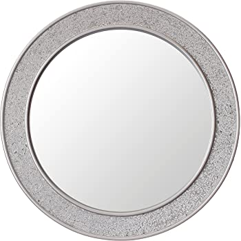 Glamour By Casa Chic Round Mosaic Wall Silver Mirror Large 60