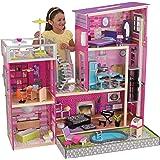Kidkraft 65833 Uptown - Casa Delle Bambole, in Legno, con Mobili e Accessori inclusi, 3 Piani, Adatta A Bambole da 30 cm