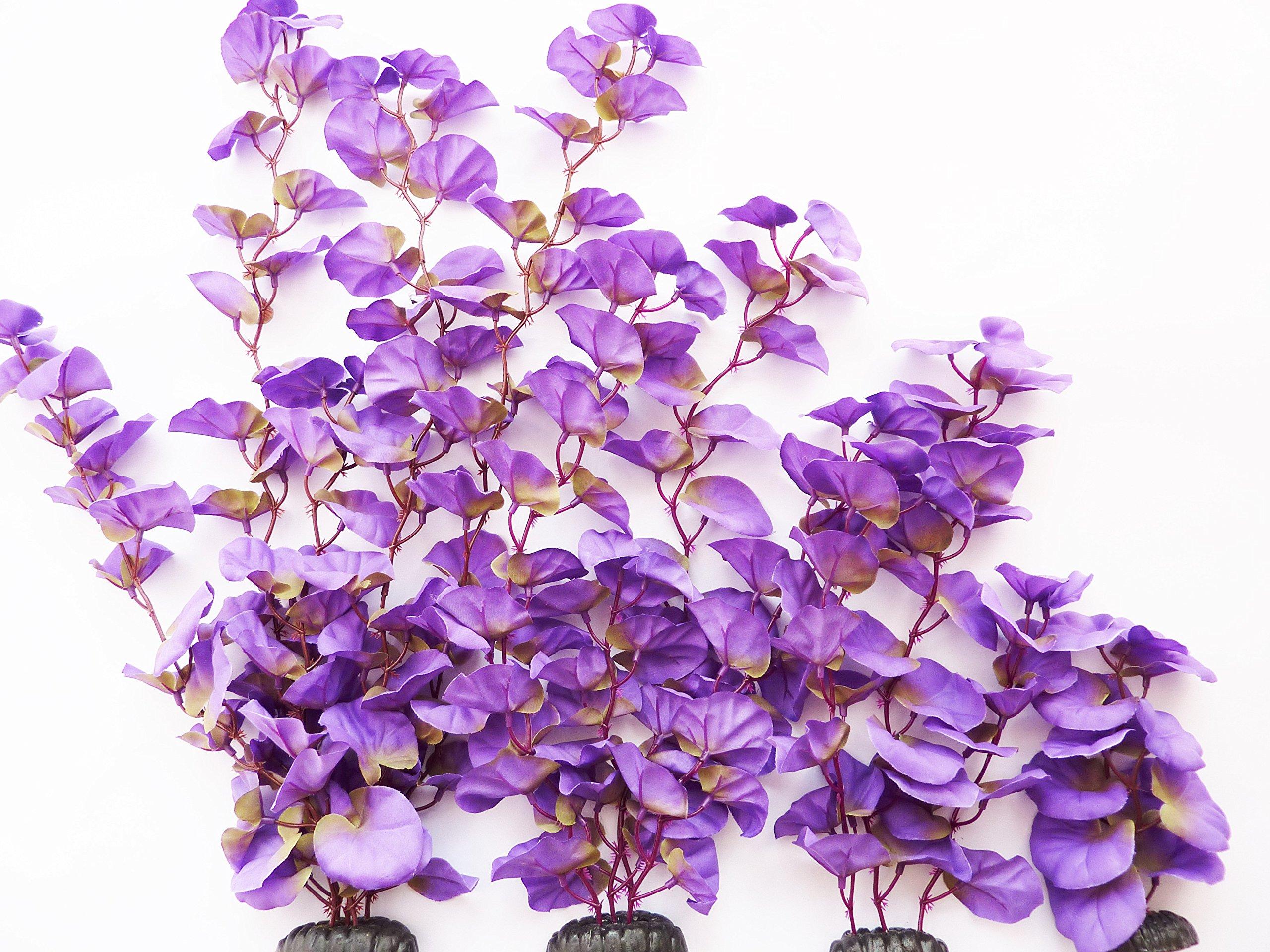 Aquarium Plants (Silk) Purple Lily Fish Tank Decor (Purple Lily 4 Pack)