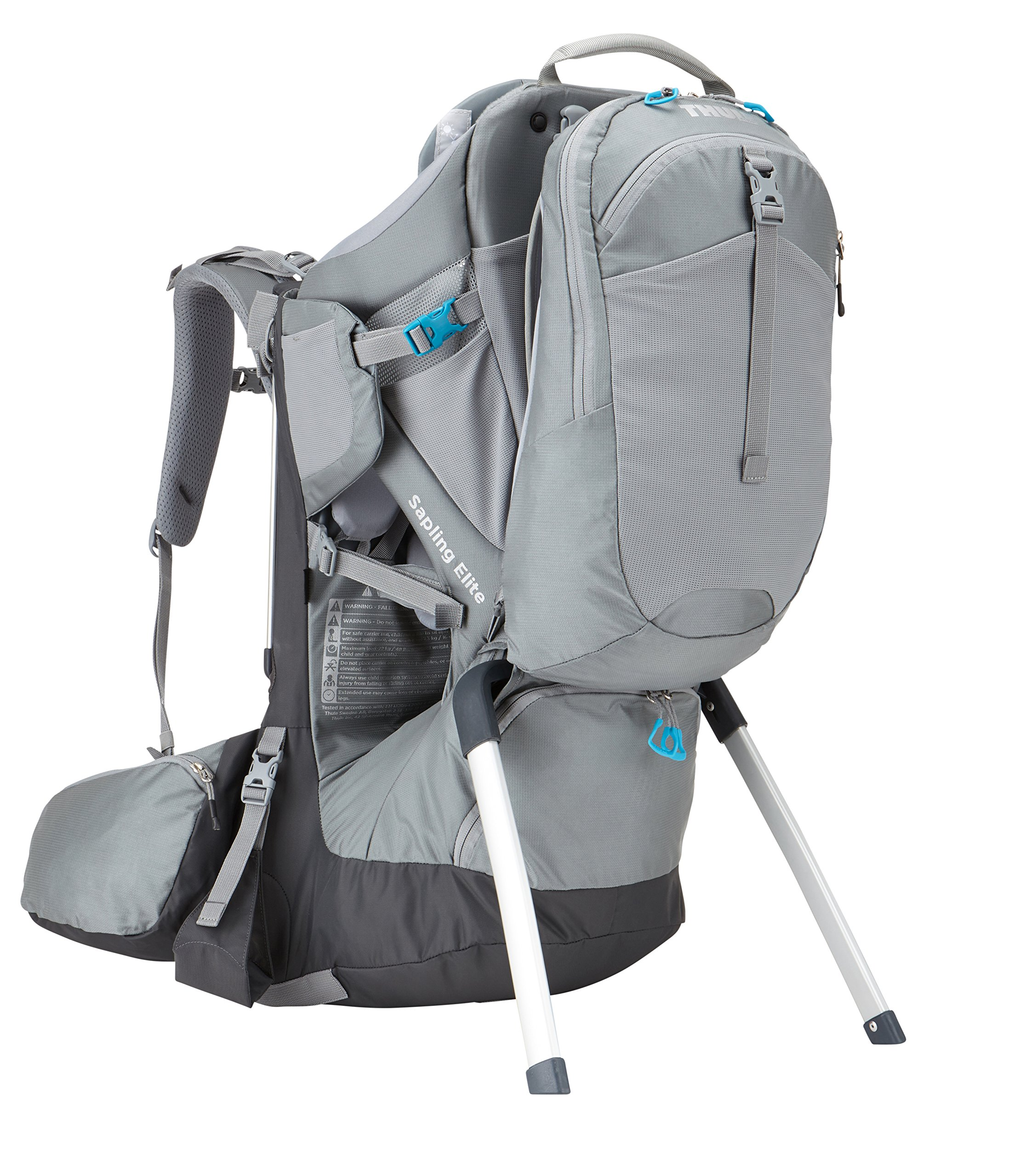 Thule Sapling Elite Child Carrier  Removable backpack and large zippered compartment store diapers, clothes and other gear Fully adjustable back panel and hip belt make the transition between parents quick and easy, Plush, height adjustable, ergonomic seat efficiently distributes the child's weight by providing inner thigh support Breathable back panel allows air to circulate around your back 2