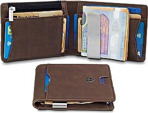 TRAVANDO Geldbeutel mit Geldklammer Sao Paulo Mit MÜNZFACH - 10 Kartenfächer - RFID Schutz - Vintage-Leder-Optik - Schlankes Portemonnaie - Geschenk Box - Designed in Germany