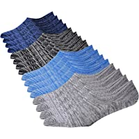 Jormatt Mens Cotton Low Cut No Show Socks With Non Slip Grips, 6 Pairs 8 Pairs