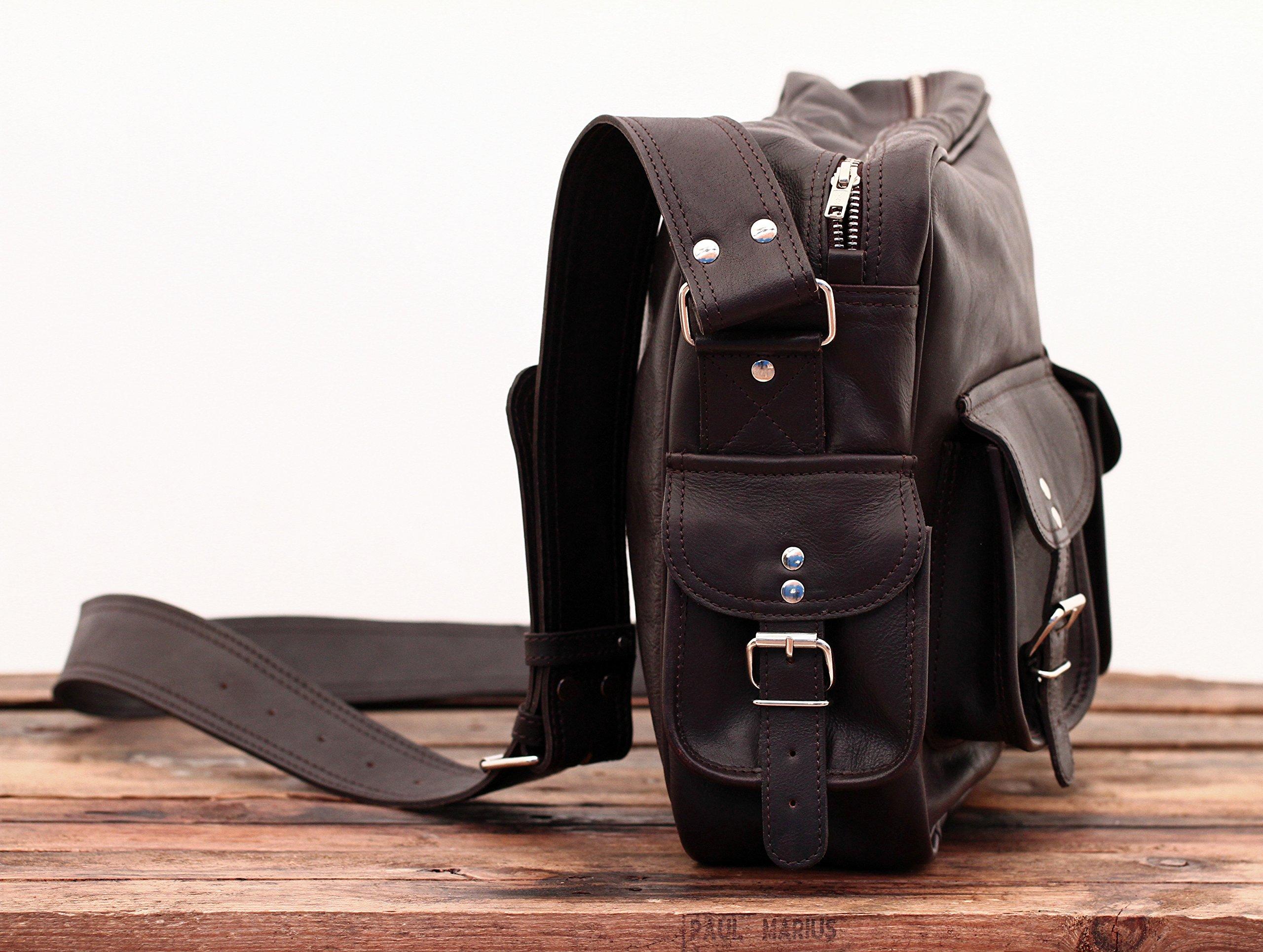 91vgpo4nGqL - PAUL MARIUS LE MULTIPOCHES INDUS, Bolso bandolera de cuero, estilo vintage, bandolera de cuero, bolso con bolsillos…