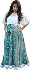 Gravidanza9 Women Georgette Floral Princess Maternity Dress Pregnancy Nursing Maxi Dress