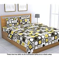Loreto – A Quality Linen Brand 144 TC Cotton Double Bedsheet with 2 Pillow Covers - Multi Colour