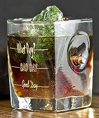 KolbergGlas Whiskey Glas mit realem Geschoß cal.308 und Gravur - Good Day- Bad Day- What Day?- Geschenkidee