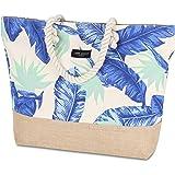 LARK STREET Strandtasche Floral Blue Beach Bag für Damen & Herren aus robustem Baumwoll Canvas & Jute - Badetasche mit Breite