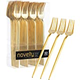 Novelty Modern Flatware, Cutlery, Disposable Plastic Dinner forks Luxury Gold 32 Count