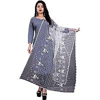 PRIZOMAX Women's Nylon Net Embroidered Dupatta Free Size