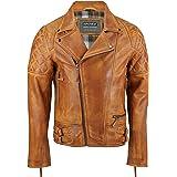 Xposed Chaqueta de piel auténtica para hombre, estilo vintage, estilo vintage, lavada, marrón, con cremallera, estilo retro,