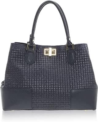 Chicca Borse - Handbag Borsa a Mano da Donna Stampa Intreccio Realizzata in Vera Pelle Made in Italy - 37 x 27 x 14 Cm