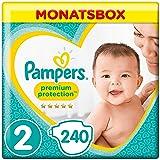 Pampers Premium Protection New Baby Größe 2, 4-8kg Tragepack, 240 Windeln, Monatsbox