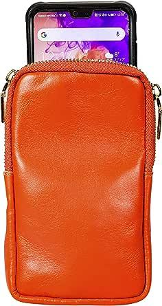 Borsa Piccola Tracolla Donna Porta Cellulare Telefono da Collo per Telefono in Vera Pelle - Borsa Portafoglio Donna a Tracolla Made in Italy