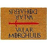 koko doormats felpudos Entrada casa Originales, Fibra de Coco y PVC, Felpudo Exterior Valar Morghulis - Valar Dohaeris, 40x60