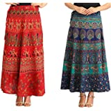 MIRAV FASHION Women's Printed Cotton Wrap Around Long Skirts (Blue and Red, Free Size) - Combo of 2