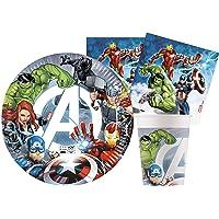 Ciao- Kit Party Tavola Marvel Avengers Fight in carta FSC compostabile per 8 persone (36 pezzi: 8 piatti Ø23cm, 8…