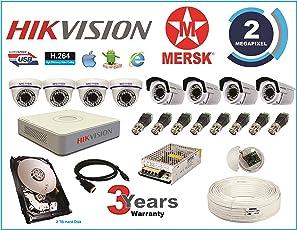 MERSK Hikvision 8CH Turbo HD DVR And Mersk Full HD 2MP CCTV Camera Kit (White)