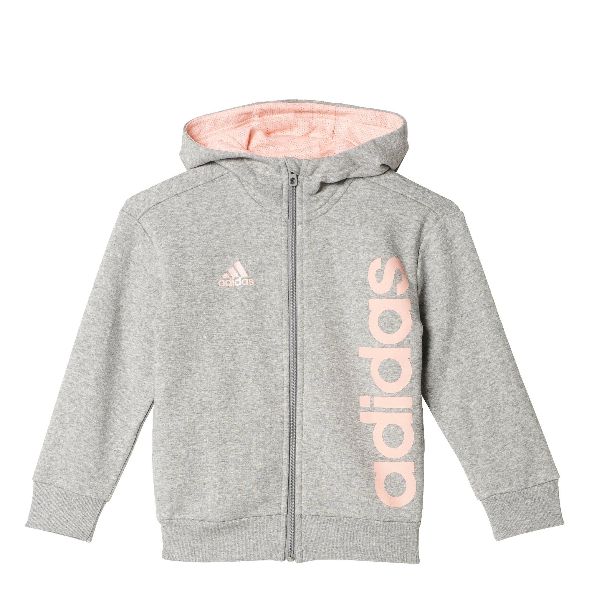 Adidas Lk Lin FZ Hoodi Felpa, bambino, Bambino, Lk Lin Fz Hoodi, Grigio (brgrin)