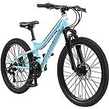 BIKESTAR MTB Mountain Bike Alluminio per Bambini 10-13 Anni   Bicicletta 24 Pollici 21 velocità Shimano, Hardtail, Freni a Di