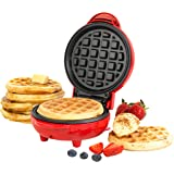 Giles & Posner EK4214G Non-Stick Mini Waffle Maker | 550 W | Power and Ready Indicator Light | Compact Design | Red