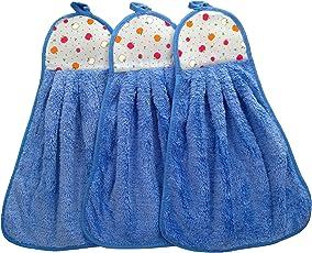 Shop By Room Soft Hanging Napkin for Wash Basin, Kitchen Basin(Blue) - Set of 3