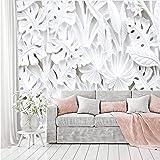 murimage Fotobehang bloemen 3D wit 366 x 254 cm inclusief lijm planten behang stucwerk reliëf gips patroon slaapkamer woonkam