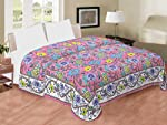 Saryu Homes Cotton Machine Quilted Double Bed Cover (Multicolor)
