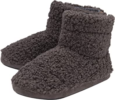 Dunlop - Mens Furry Sherpa Slipper Boots - Memory Foam Plush Indoor House Slippers - Ankle Boot Slippers - Gifts for Men