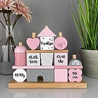 Kidslino Steckspiel Haus rosa I Personalisierbares Geschenk zur Geburt Mädchen I Handmade Holzspielzeug I…