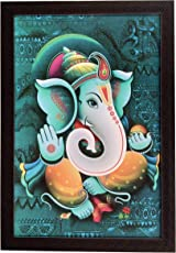D'Mak Exclusive 'Ganesh Religious' (Synthetic UV Art Painting Without Glass) Framed Wall Art Paintings of Lord 'Ganesh' Frame Size (12 inch x 18 inch) | Wall Ganesha Frame |