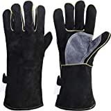 FZTEY Heat&Fire Resistant Leather Thorn Proof thickening Gaunlets with Kevlar Stitching, Extreme High Temperature Hot Metal T