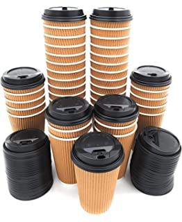 Premium Disposable Coffee Cups With Lids (90) Durable 12 oz To Go Coffee Cups With Tight Resealable Lids Prevent Leaks! Sturdy, Insulated For Hot