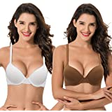 Curve Muse Extra stor storlek för kvinnor Full täckning Vadderad Bygel-bh-2-packa