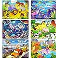 Puzzle en Bois Enfant, 6Pcs 60 Pièces Jouet Puzzle Enfant 3 4 5 6 Ans, Jouet Montessori Éducatif avec 6 Thèmes, Animaux Ferme