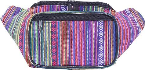 Doris Boutique FU - [3 Tasche] PU Leder Gürteltasche Canvas Hüfttasche Gewebtes Baumwollgewebe Bauchtasche Geldbeutel Bikertasche