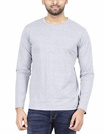 4b21810f8 Fleximaa Men's Cotton Plain Round Neck Full Sleeve T-Shirt Grey Milange  Color S Size
