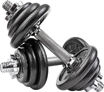 ScSPORTS 20 kg Hantelset 30 mm Kurzhantel-Set, 4 x 2 kg, 4 x 1,25 kg, 4 x 0,5 Hantelscheiben Guss und 2 x Kurzhantelstangen Stahl verchromt