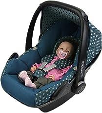BAMBINIWELT Ersatzbezug für Maxi-Cosi PEBBLE 5-tlg, Bezug für Babyschale, Komplett-Set STERNE OLIVE *NEU*