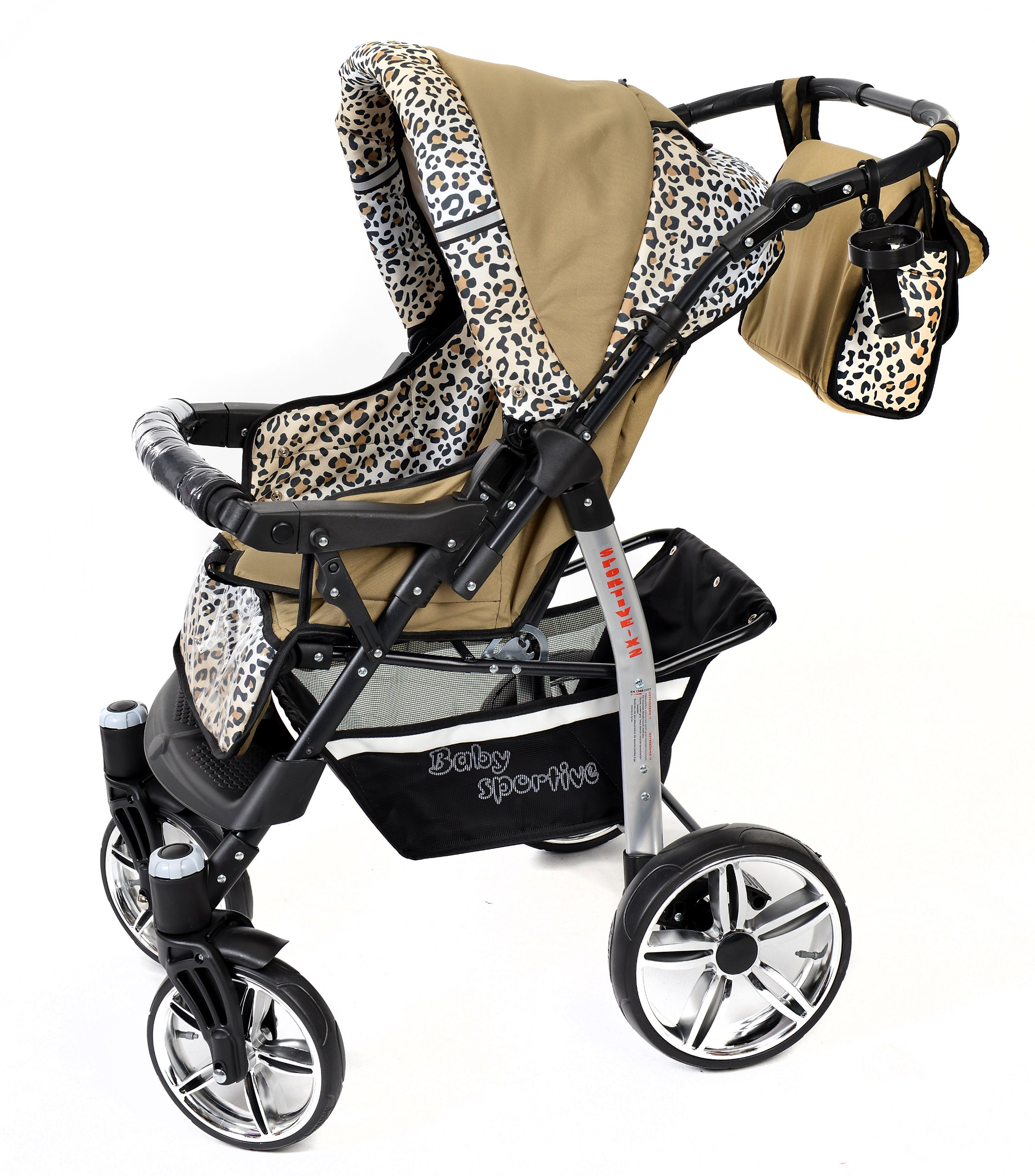 Sportive X2, 3-in-1 Travel System incl. Baby Pram with Swivel Wheels, Car Seat, Pushchair & Accessories (3-in-1 Travel System, Beige & Leopard) Baby Sportive 3 in 1 Travel System All in One Set - Pram, Car Carrier Seat and Sport Buggy + Accessories: carrier bag, rain protection, mosquito net, changing mat, removable bottle holder and removable tray for your child's bits and pieces Suitable from birth, Easy Quick Folding System; Large storage basket; Turnable handle bar that allows to face or rear the drive direction; Quick release rear wheels for easy cleaning after muddy walks Front lockable 360o swivel wheels for manoeuvrability , Small sized when folded, fits into many small car trunks, Carry-cot with a removable hood, Reflective elements for better visibility 5