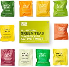 Only Leaf Green Tea Sampler Box with 10 Flavored Varieties (Pack of 30 Teabags)