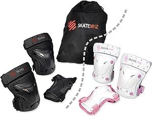SKATEWIZ Protect-1 Schutzausrüstung mit Protektoren für Kinder, Jugendliche und Erwachsene (Schwarz und Weiß-Pink), Geeignet für Inliner, Skateboard, BMX, Hoverboard