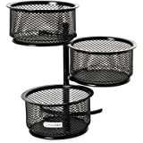 Rolodex Mesh Collection 3-Tier Swivel Tower Sorter, Black (62533)